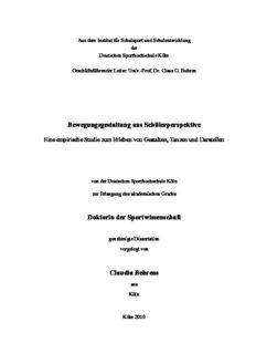 Bewegungsgestaltung aus Schülerperspektive Doktorin der Sportwissenschaft Claudia Behrens