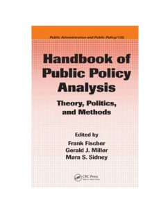 Handbook of Public Policy Analysis: Theory, Politics, and Methods (Public Administration and Public Policy)