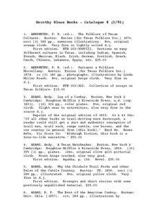 Dorothy Sloan Books – Catalogue 8 (1/91) - Dorothy Sloan -- Rare