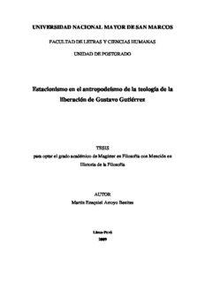 Estacionismo en el antropodeísmo de la teología de la liberación de Gustavo Gutiérrez