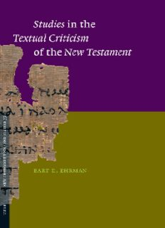 Studies in the Textual Criticism of the New Testament (New Testament Tools and Studies)