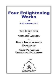 Four Enlightening works of Dr. J.W. Hanson - Tentmaker