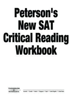 Master Critical Reading for the SAT, 1st edition (Peterson's New SAT Critical Reading Workbook)