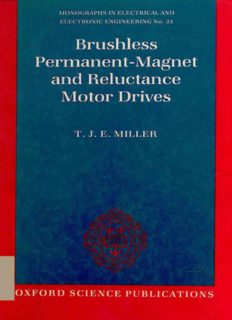 Brushless Permanent-Magnet and Reluctance Motor Drives (Monographs in Electrical and Electronic Engineering)