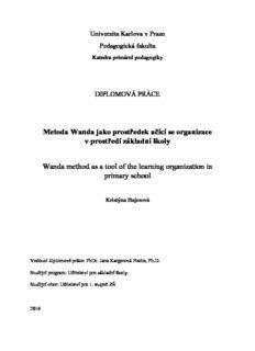 Metoda Wanda jako prostředek učící se organizace v prostředí základní školy Wanda method as a ...
