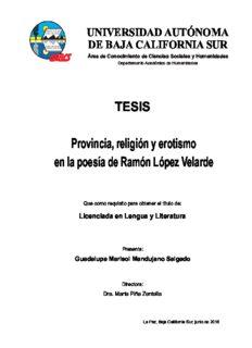 Provincia, religión y erotismo en la poesía de Ramón López Velarde