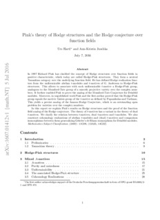 Pink's theory of Hodge structures and the Hodge conjecture over function fields