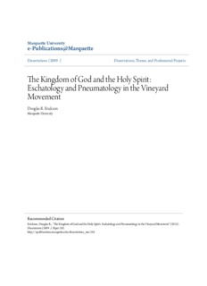 The Kingdom of God and the Holy Spirit