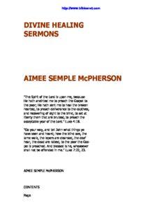 DIVINE HEALING SERMONS AIMEE SEMPLE McPHERSON