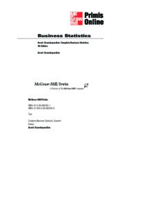 Complete Business Statistics, Seventh Edition (The Mcgraw-Hill Irwin Series)