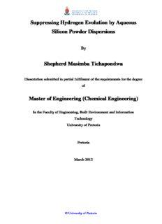 Suppressing Hydrogen Evolution by Aqueous Silicon Powder Dispersions Shepherd Masimba ...