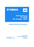 2008 WaveRunner FX SHO FX Cruiser SHO OWNER'S