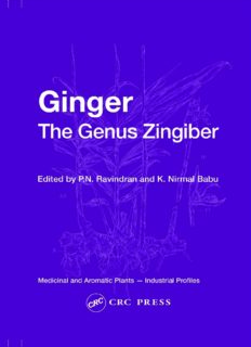 Ginger: The Genus Zingiber (Medicinal and Aromatic Plants - Industrial Profiles)
