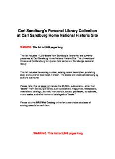 Carl Sandburg's Personal Library Collection at Carl Sandburg Home