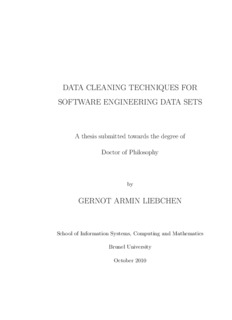 data cleaning techniques for software engineering data sets gernot armin liebchen