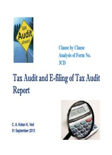 Tax Audit and E-filing of Tax Audit Tax Audit and E-filing of Tax Audit Report