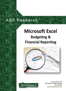 Microsoft Excel Budgeting & Financial Reporting - J. Carlton Collins