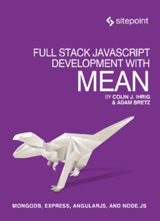 SitePoint Full Stack JavaScript Development with MEAN, MongoDB Express AngularJS and Node.js