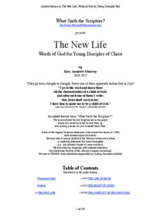 Andrew Murray on The New Life_ Words of God for Young Disciples
