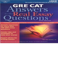 Gre: Answers to the Real Essay Questions (Arco GRE Answers to the Real Essay Questions)