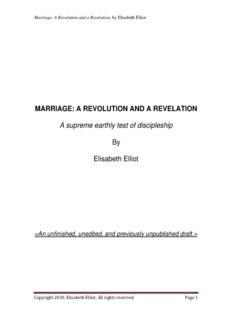 MARRIAGE: A REVOLUTION AND A REVELATION - Elisabeth Elliot