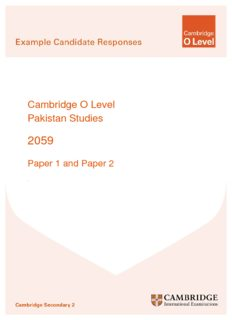 Cambridge O Level Pakistan Studies