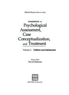 Handbook of Psychological Assessment, Case Conceptualization, and Treatment. Two-Volume Set: Handbook of Psychological Assessment, Case ... Treatment: Volume 2: Children and Adolescents