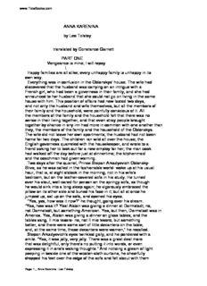 ANNA KARENINA by Leo Tolstoy translated by Constance Garnett PART ONE Vengeance is mine