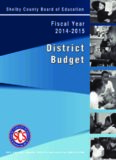 Shelby County Schools Shelby County, Tennessee District Budget Fiscal Year 2014-15 Prepared by