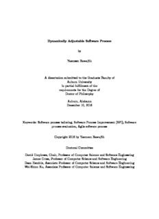 Dynamically Adjustable Software Process by Yasmeen Rawajfih A dissertation submitted to the ...