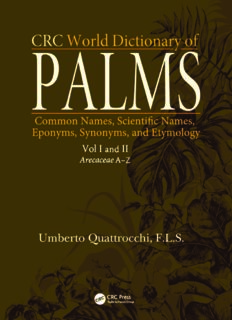 CRC World Dictionary of Palms: Common Names, Scientific Names, Eponyms, Synonyms, and Etymology (2 Volume Set)