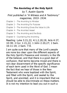 The Anointing Of The Holy Spirit/pdf - T. Austin - Lovest Thou Me