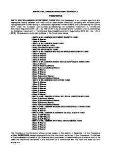 SMITH & WILLIAMSON INVESTMENT FUNDS PLC PROSPECTUS SMITH AND WILLIAMSON ...
