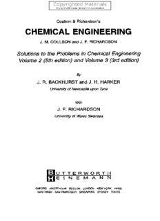 Coulson and Richardson's Chemical Engineering Volume 5 - Solutions to the Problems in Chemical Engineering from Volume 2 and Volume 3