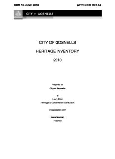 city of gosnells heritage inventory 2010