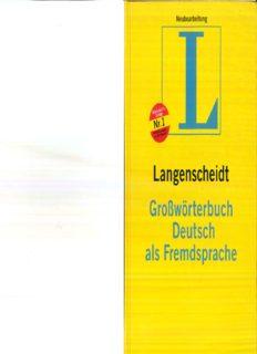 Langenscheidt Großwörterbuch Deutsch als Fremdsprache : das einsprachige Wörterbuch für alle, die Deutsch lernen