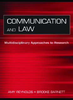 Communication And Law: Multidisciplinary Approaches to Research (Lea's Communication Series) (Lea's Communication Series)