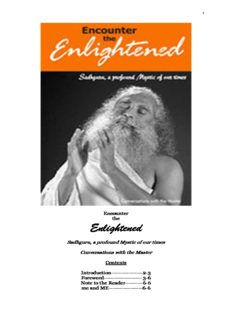 Encounter The Enlightened Sadhguru Jaggi Vasudev