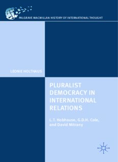 Pluralist Democracy in International Relations: L.T. Hobhouse, G.D.H. Cole, and David Mitrany