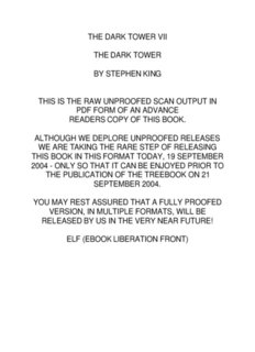 THE DARK TOWER VII THE DARK TOWER BY STEPHEN KING THIS IS
