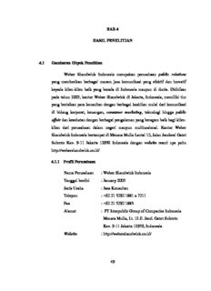 49 BAB 4 HASIL PENELITIAN 4.1 Gambaran Obyek Penelitian Weber Shandwick Indonesia ...
