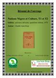 Résumé de l'ouvrage Nations nègres et Culture de Cheikh Anta Diop