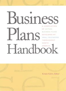 Business Plans Handbook, Volume 1: A Compilation of Actual Business Plans Developed by Small Businesses Throughout North America (Business Plans Handbook)