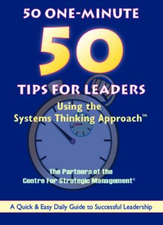 Strategic Thinking for Leaders, The Systems Thinking Approach