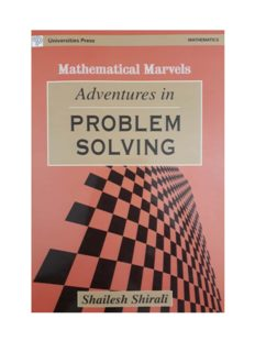 Adventures in Problem Solving Mathematical Marvels by Shailesh Shirali Universities Press RMO INMO IMO Mathematics Olympiads