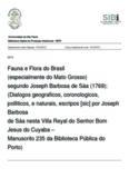 Fauna e Flora do Brasil (especialmente do Mato Grosso) segundo Joseph Barbosa de Sáa