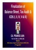 Finalization of Balance Sheet, Tax Audit & Finalization of Balance Sheet, Tax Audit