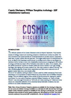 Cosmic Disclosure; William Tompkins Anthology– SSP whistleblower testimony
