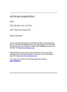 Network Marketing: MLM Strategies for Success and Wealth Creation