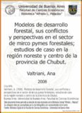 Modelos de desarrollo forestal, sus conflictos y perspectivas en el sector de mirco pymes